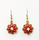 Daisy SuperDuo Earrings Beadwork Kit with SWAROVSKI® Elements - Red and Gold